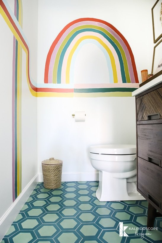 modern and colorful cement tile in diy bathroom remodel