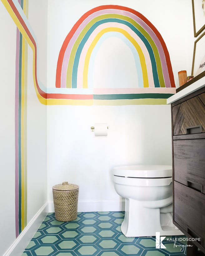 colorful modern powder room renovation