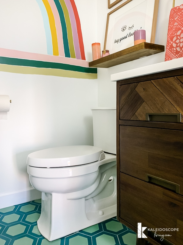 kohler toilet in modern and colorful bathroom