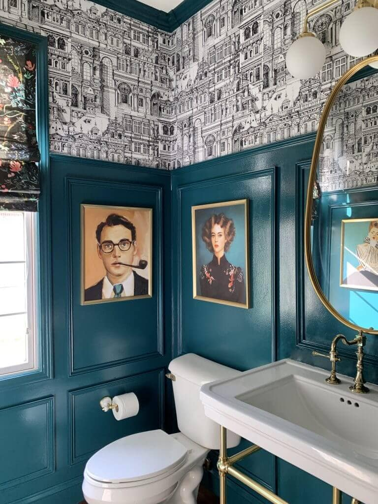 black and white wallpaper with turquoise powder room