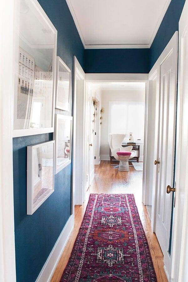 bold blue colorful hallway