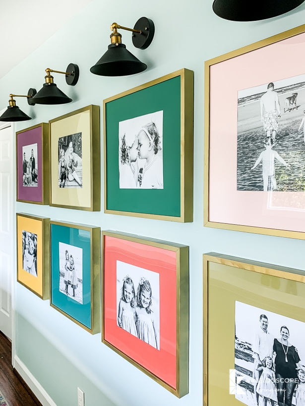 colorful photo gallery wall