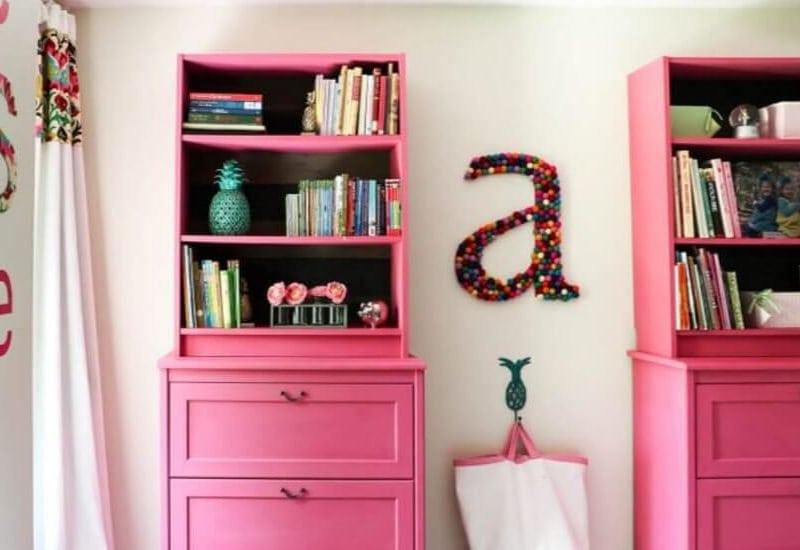 pink IKEA book case
