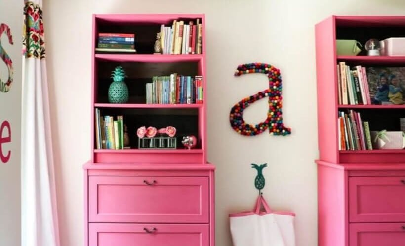 pink IKEA book case