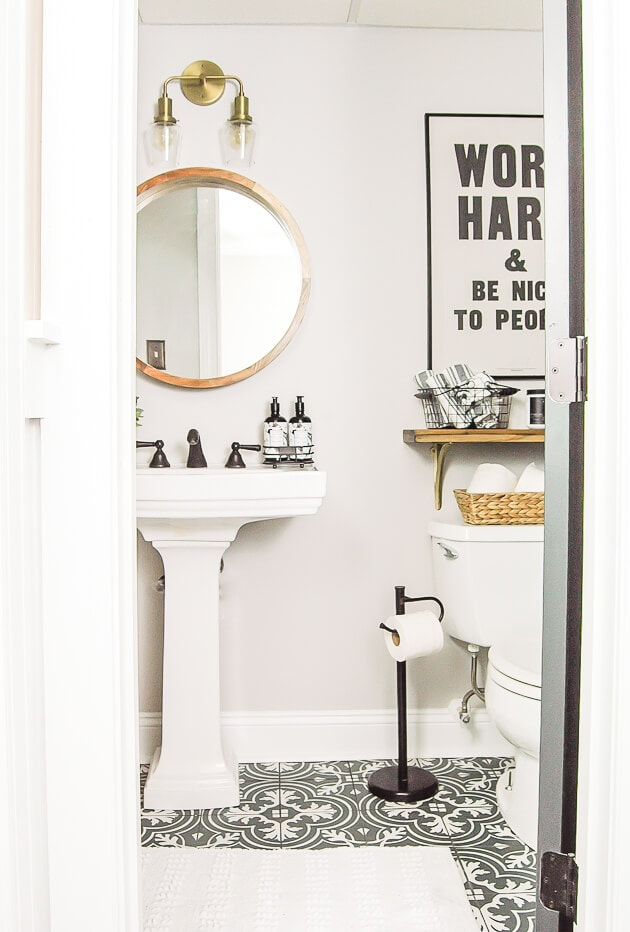 grey and white graphic bathroom