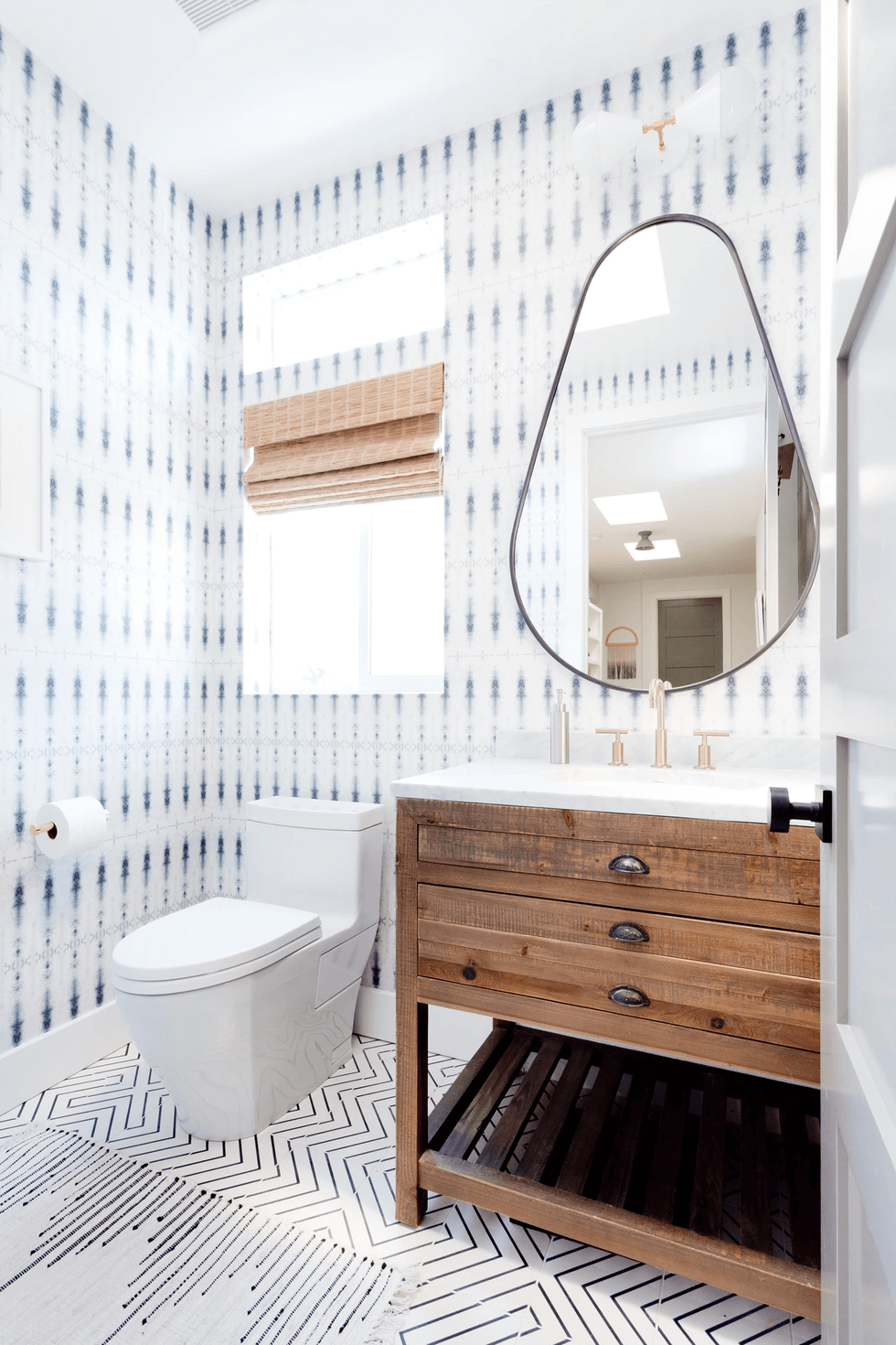 shibori wallpapered bathroom
