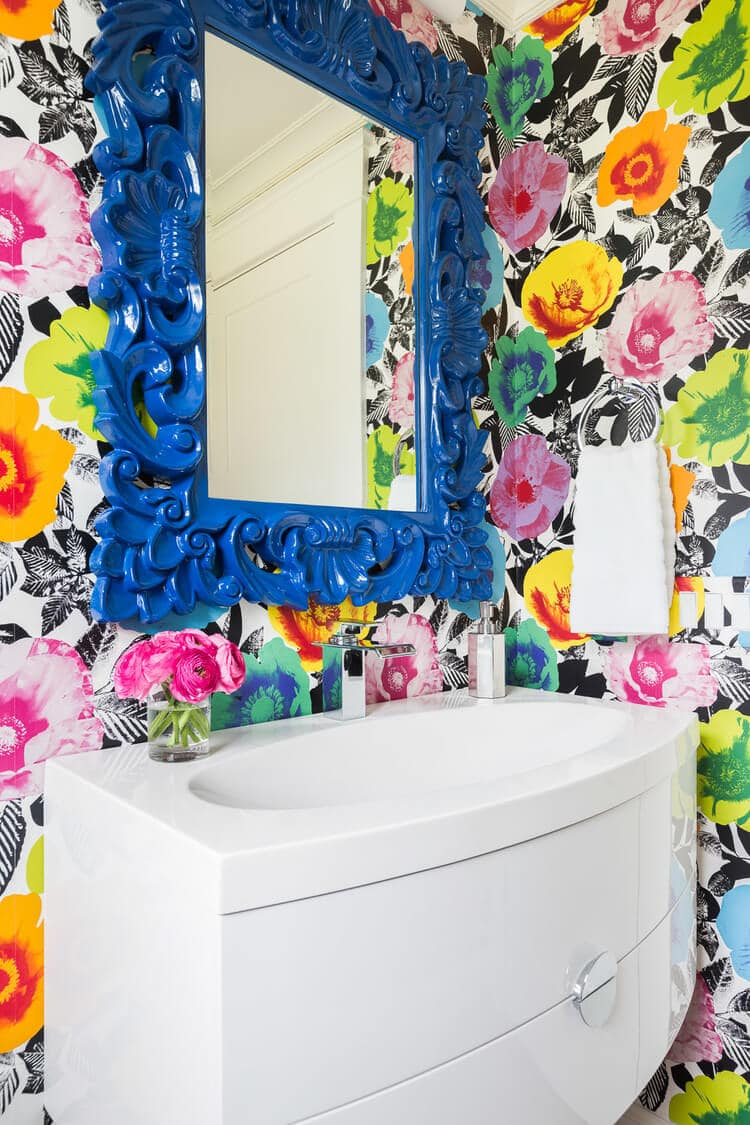 bold and bright mirror and wallpaper