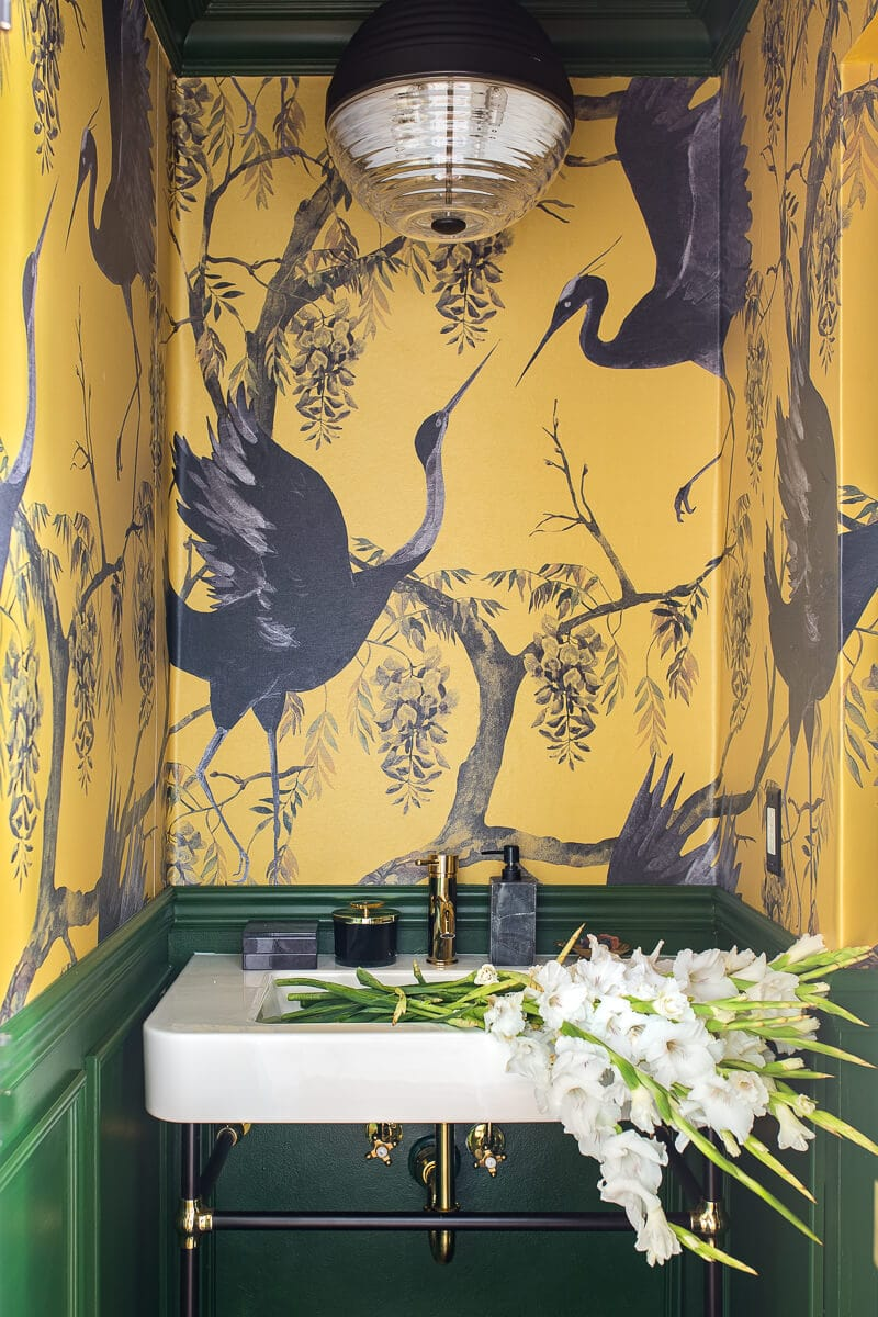 bold yellow and green bathroom