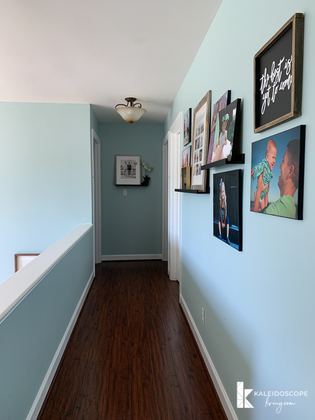 hallway decorated with family photos