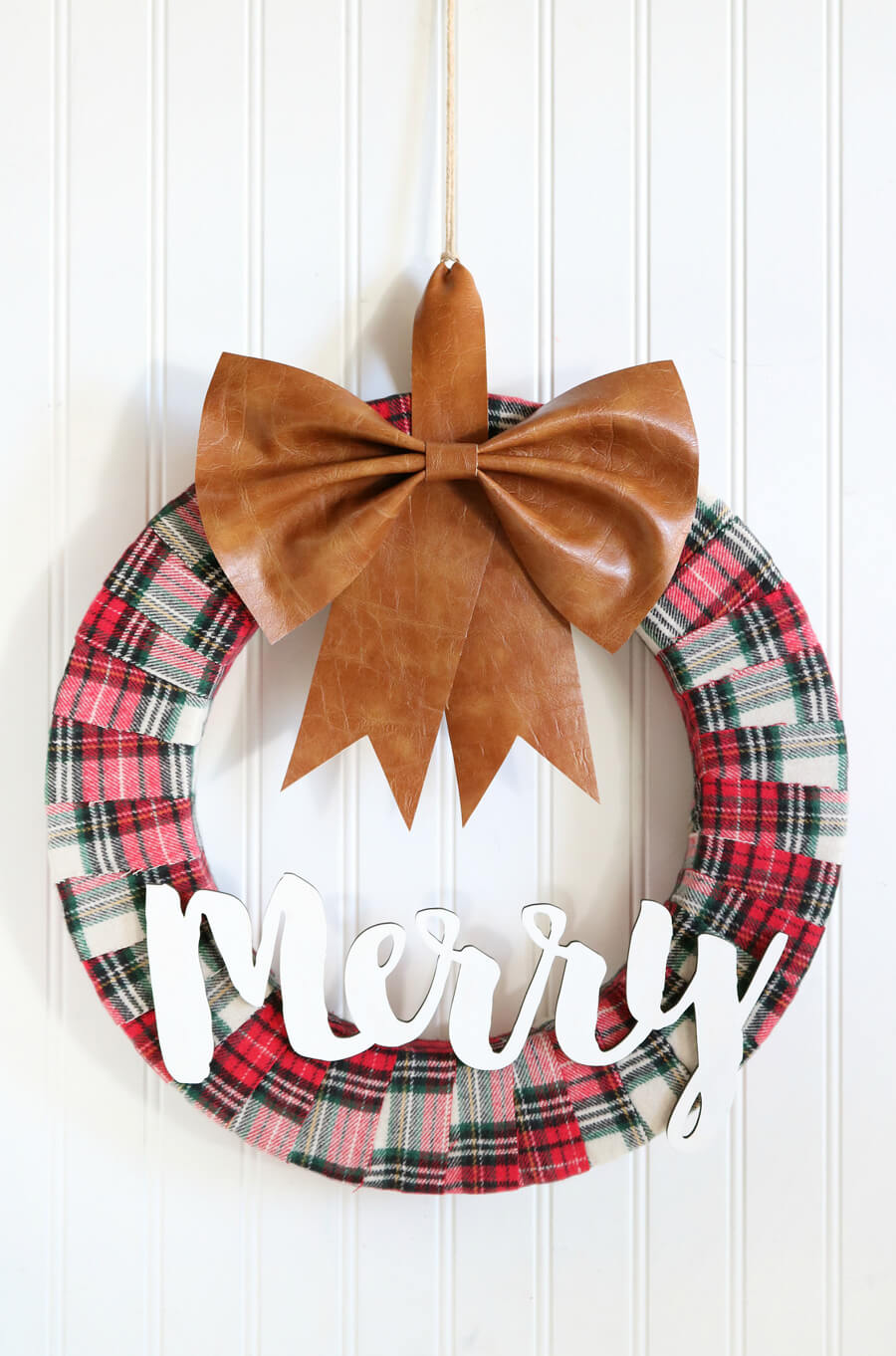 plaid and leather wreath