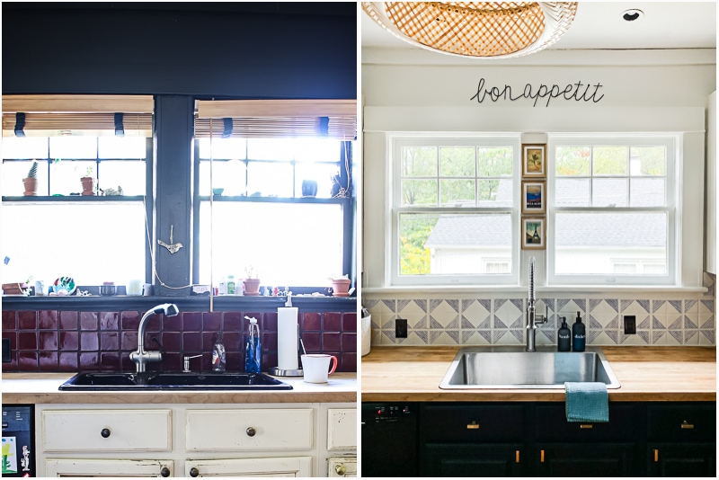 before and after painted and stenciled tile backsplash