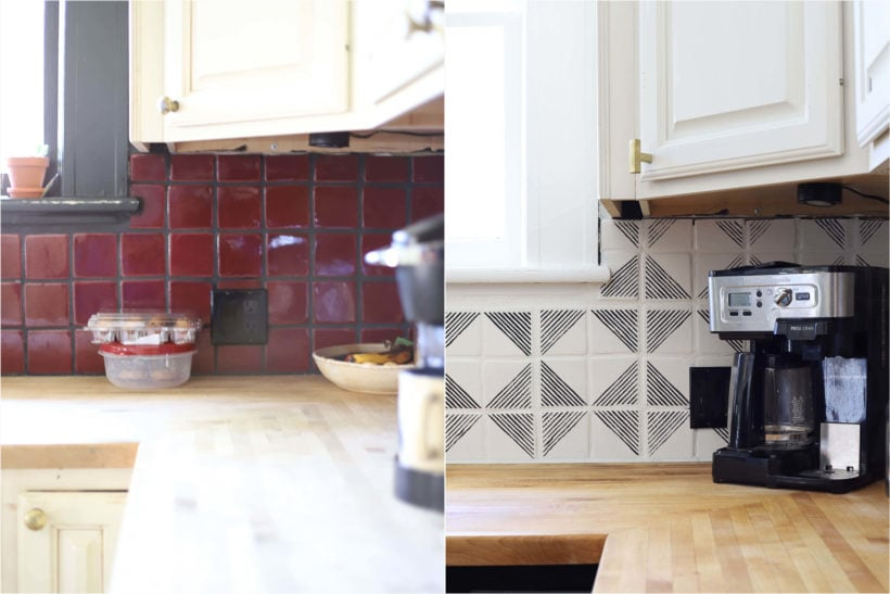 kitchen makeover with painted tile before and after