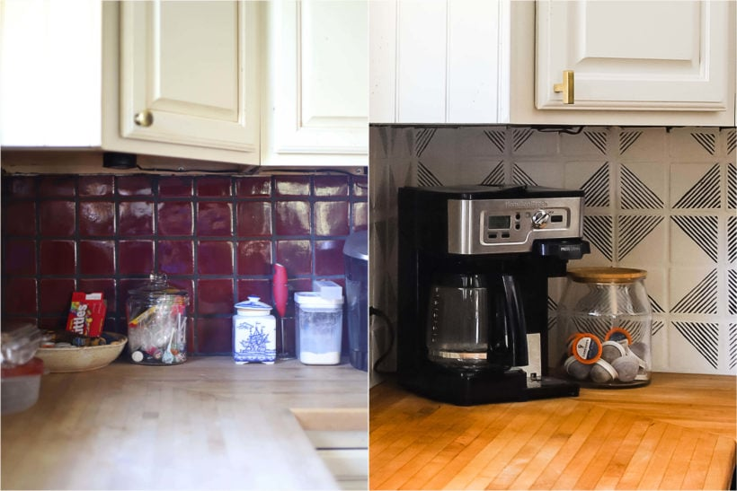 painted and stenciled backsplash before and after