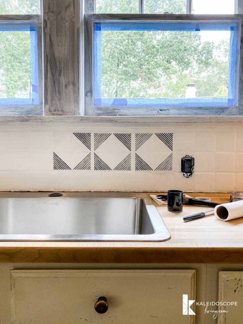 painting and stenciling backsplash
