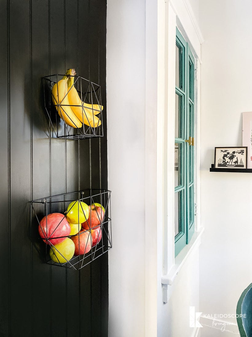 hanging fruit storage in kitchen makeover
