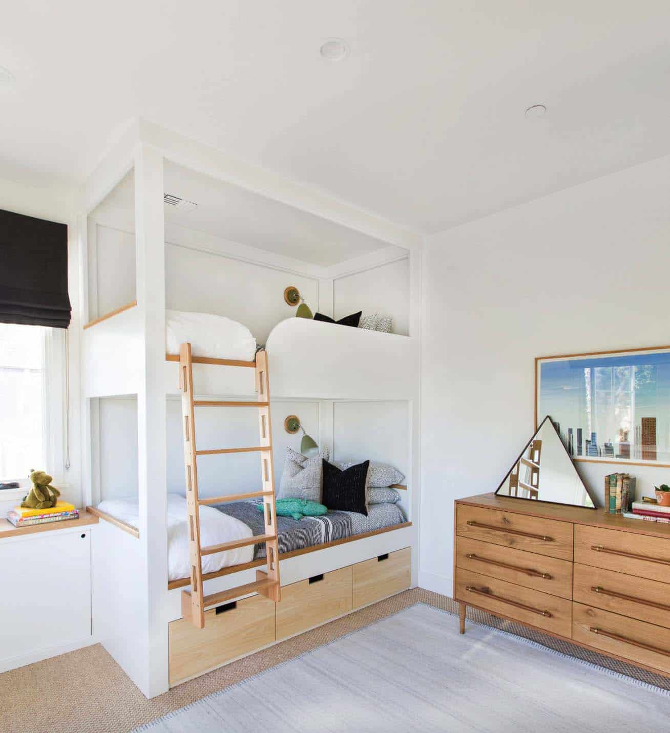 white bunk bed built ins