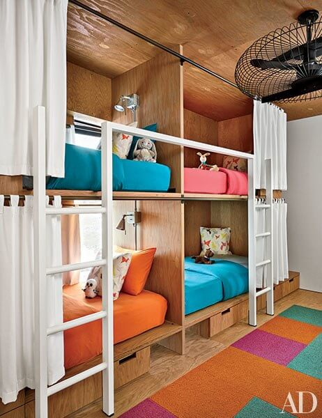colorful plywood bunk room
