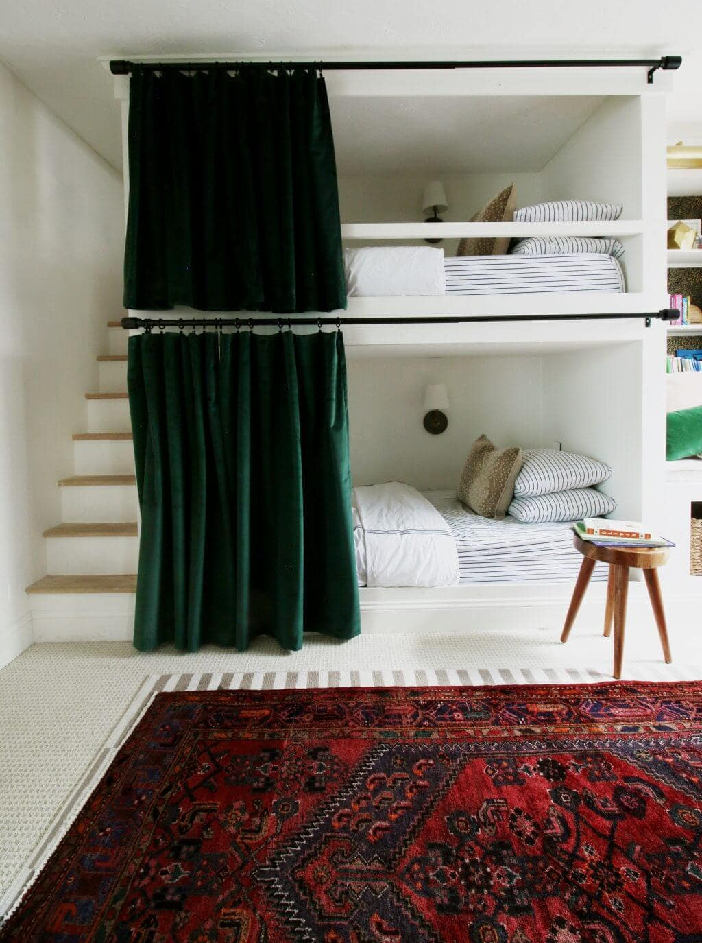 DIY bunk beds with stairs and curtains