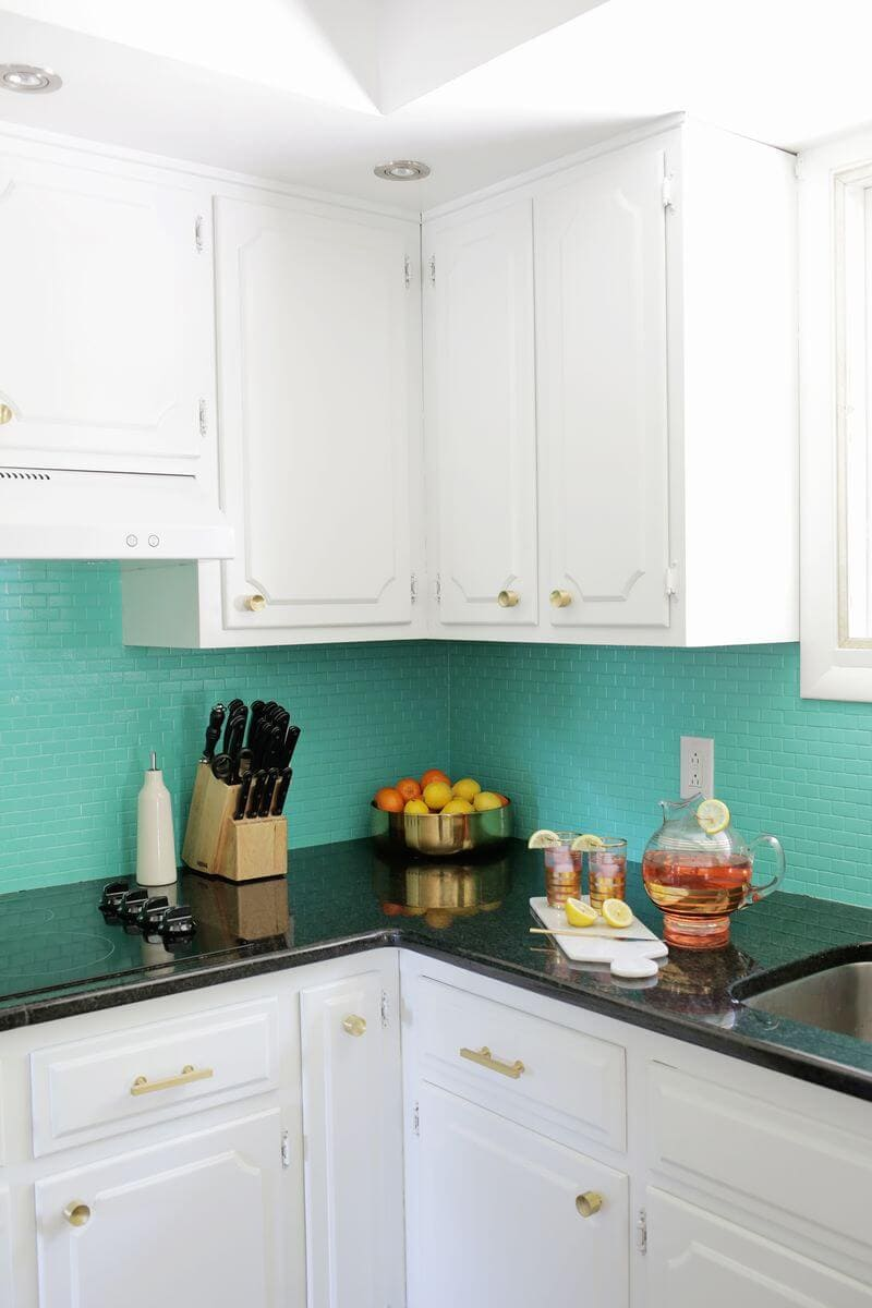 turquoise painted tile