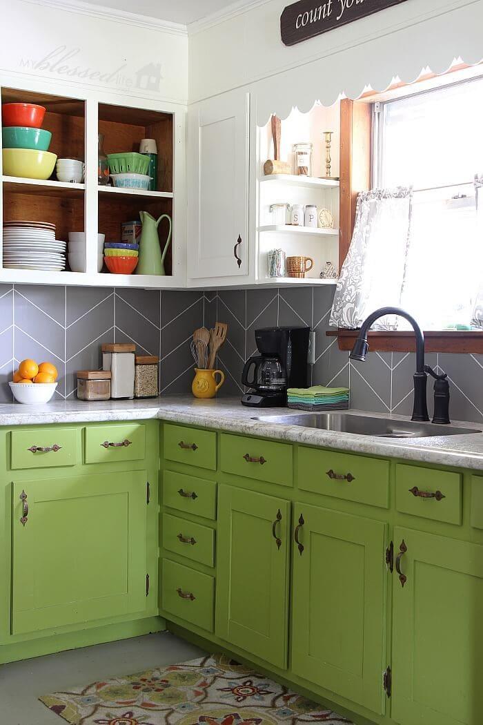 DIY chevron tile backsplash