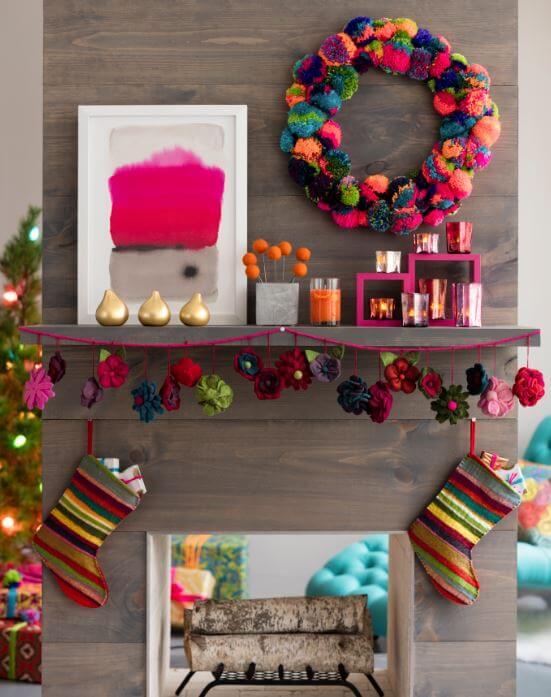 Pink Christas pom pom wreath and mantel