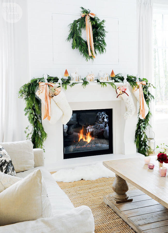 Christmas greenery with peach accents