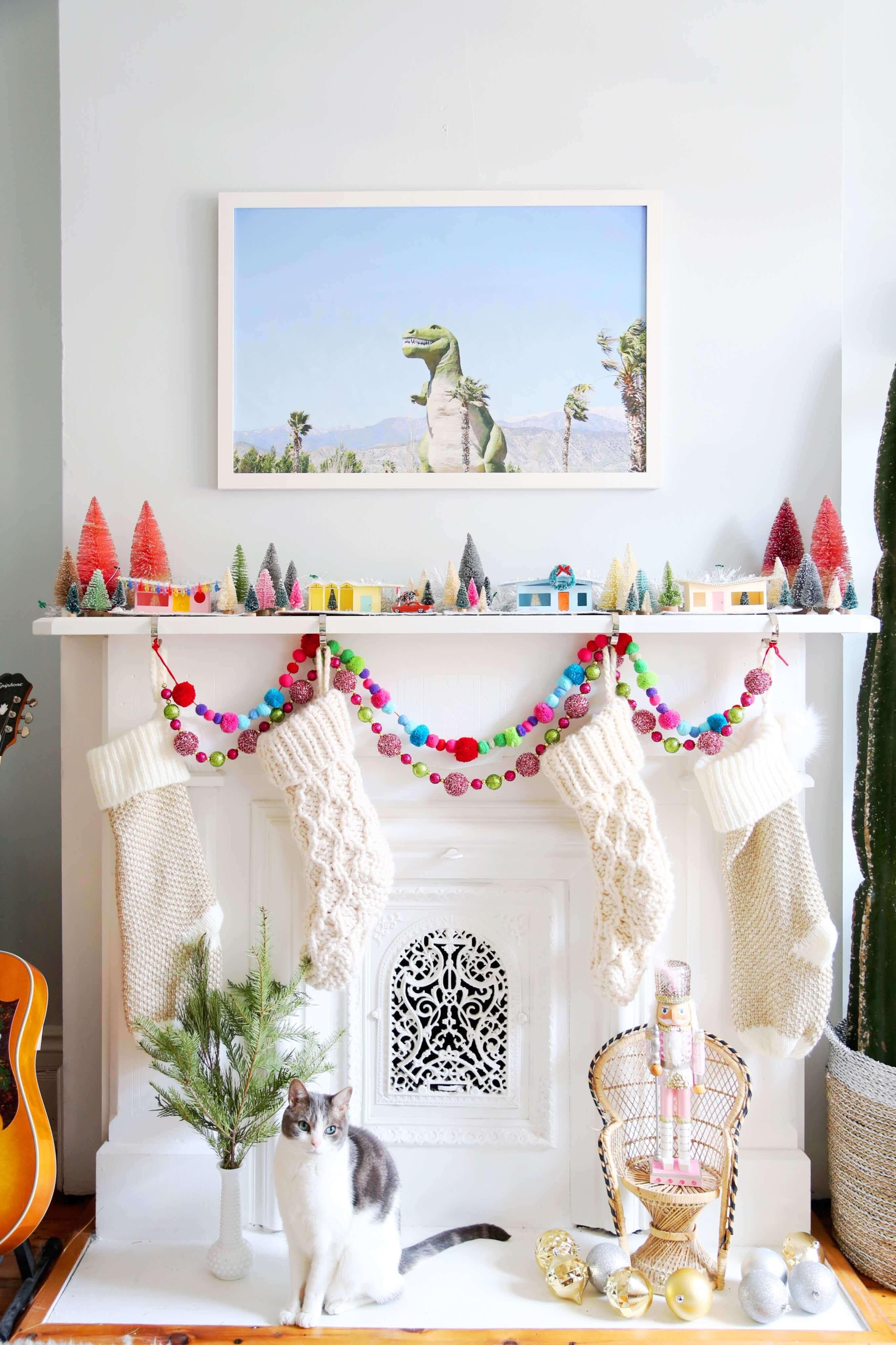 colorful retro Christmas village mantel