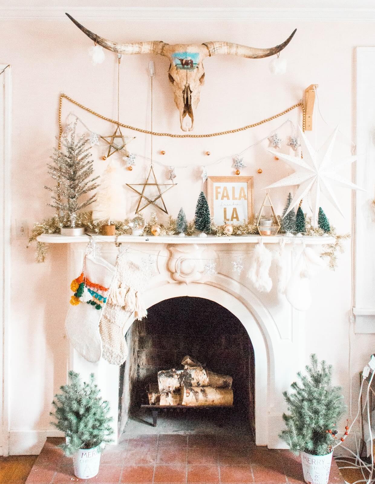 boho winter Christmas mantel