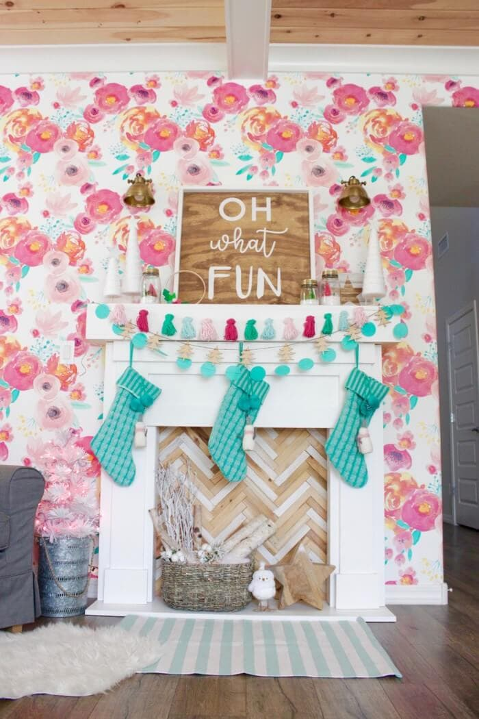 turquoise and pink Christmas mantel