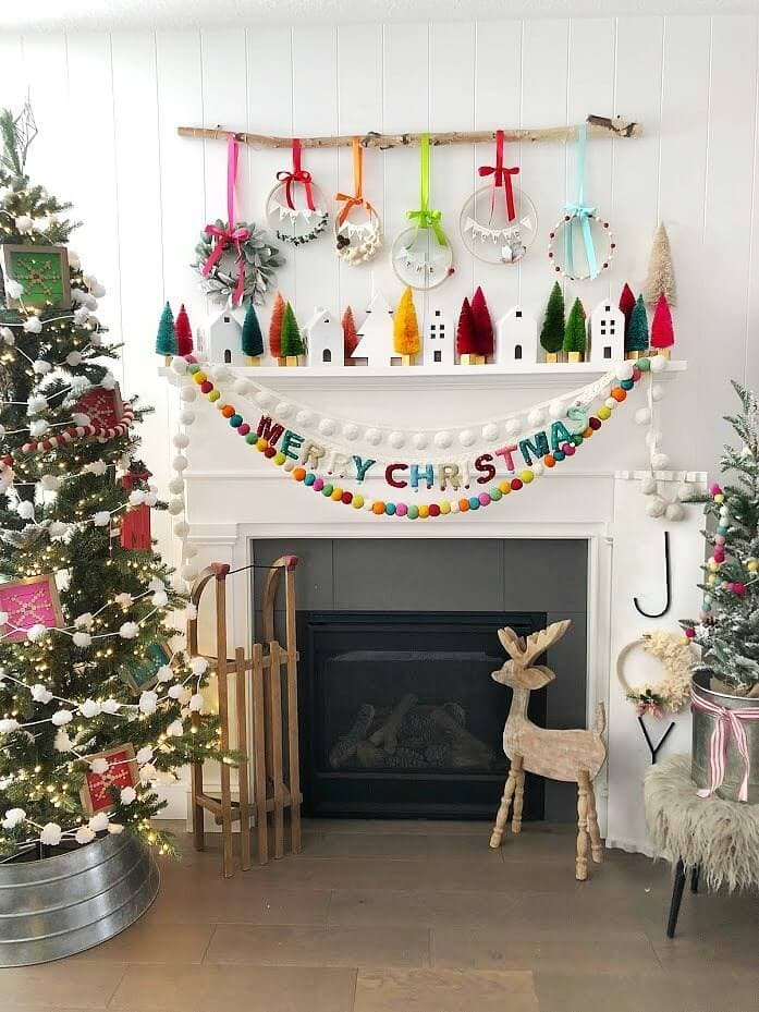 mini hoop wreath mantels