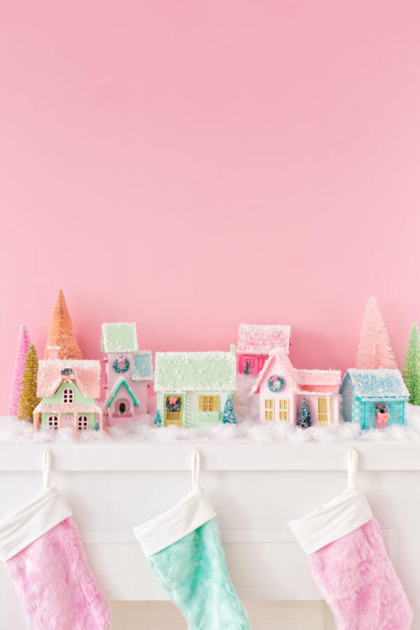 colorful DIY Christmas village