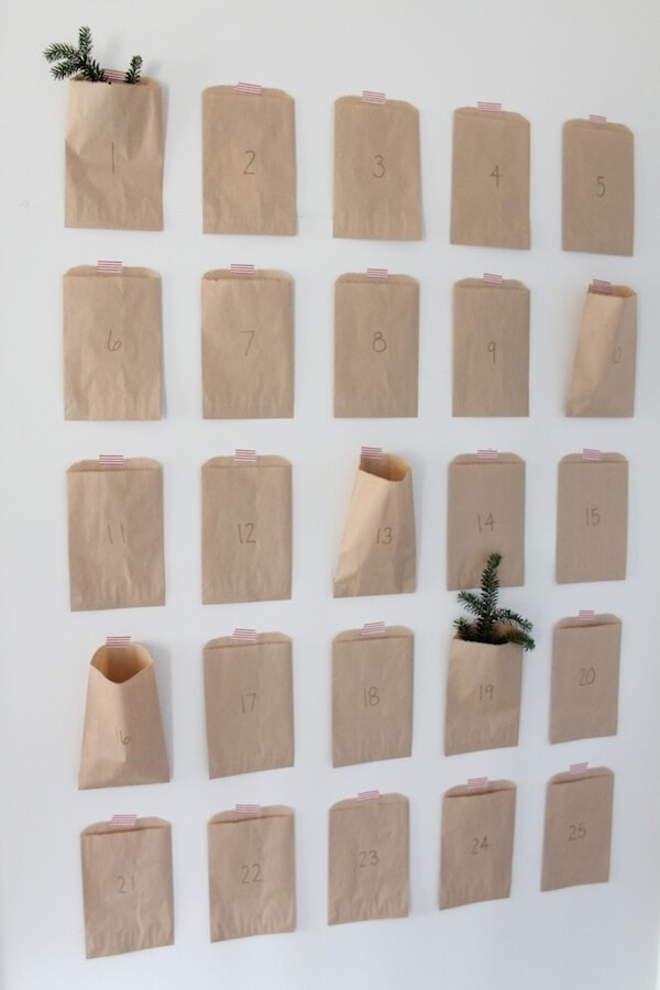 brown paper bag advent calendar