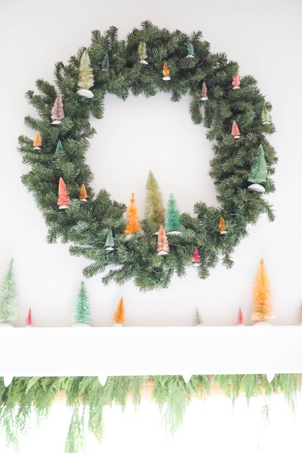 DIY dyed bottle brush wreath