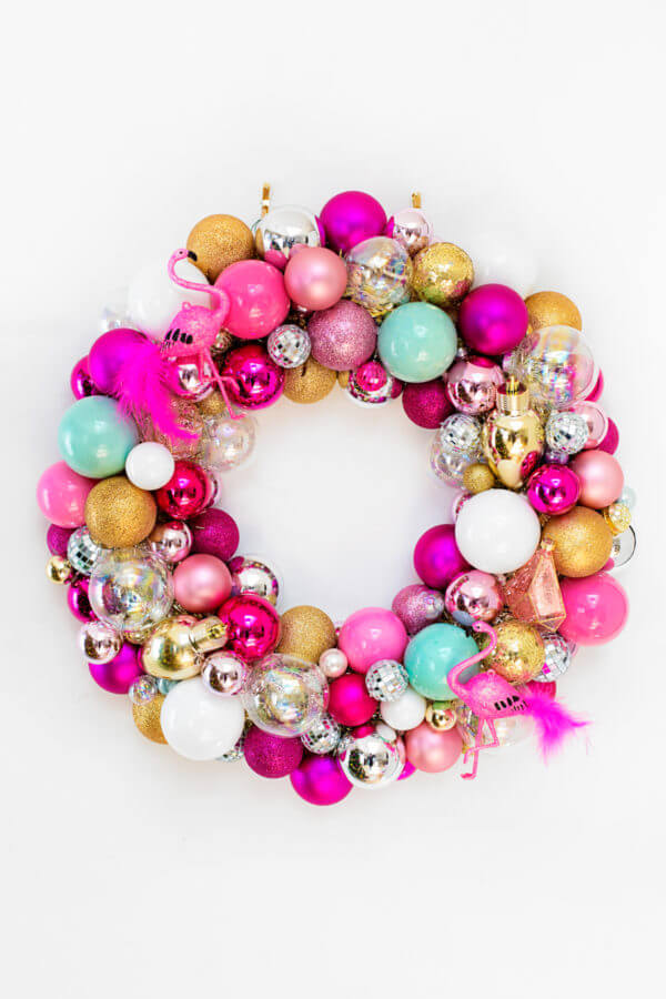 colorful flamingo wreath