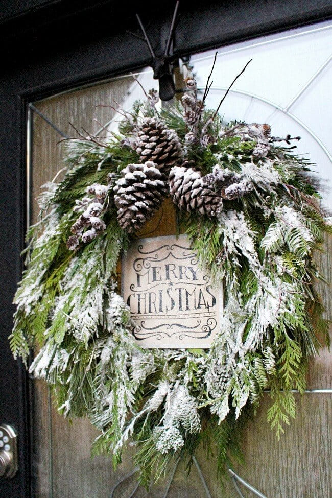 natural wreath with snow