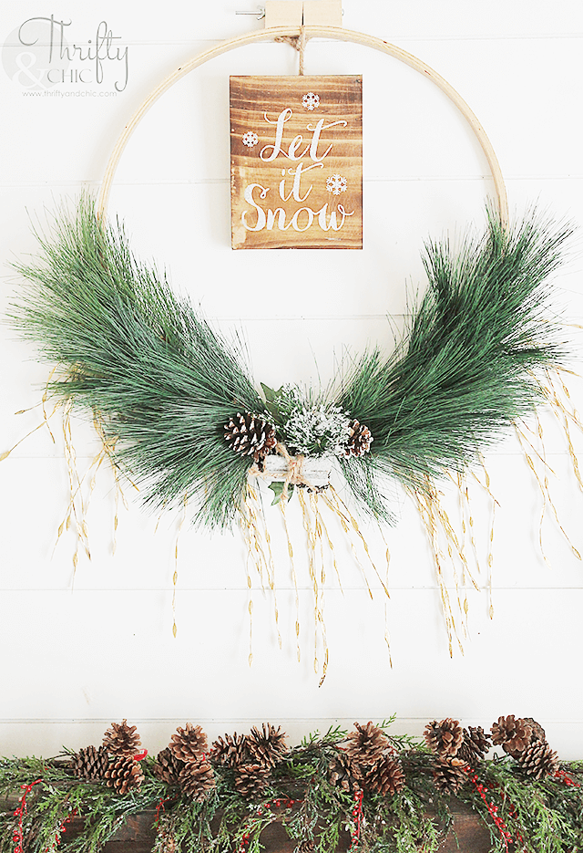 let it snow holiday hoop wreath