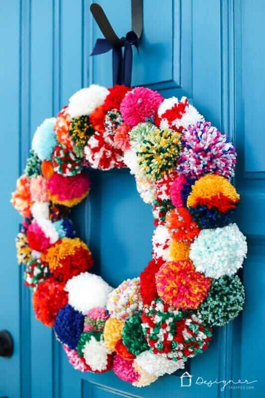 colorful pompom wreath