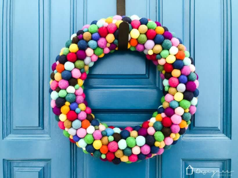 colorful felt ball wreath