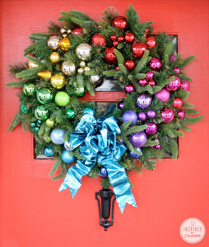 rainbow ornament holiday wreath