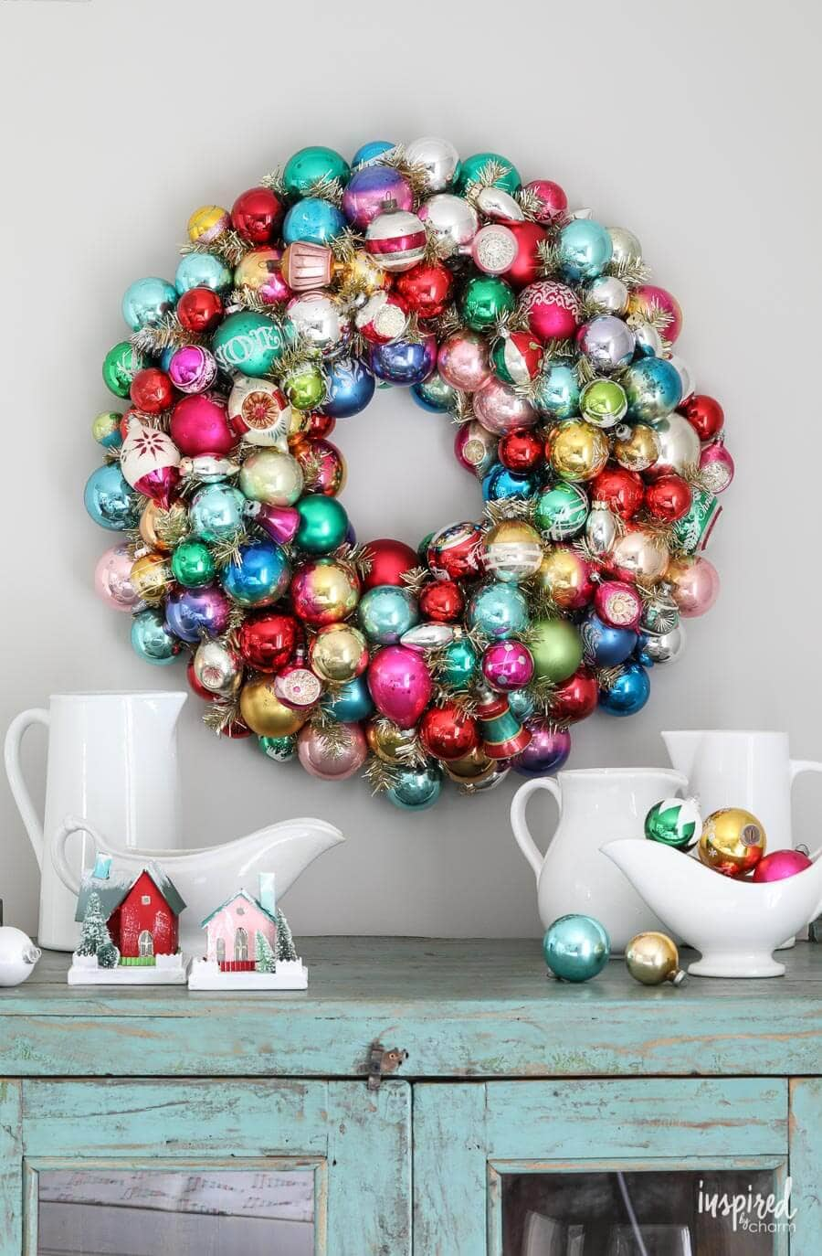 Vintage ornament DIY wreath