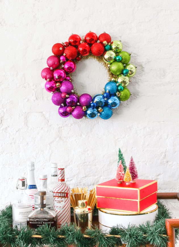 rainbow ornament wreath