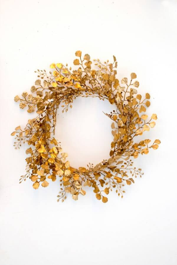 golden DIY holiday wreath