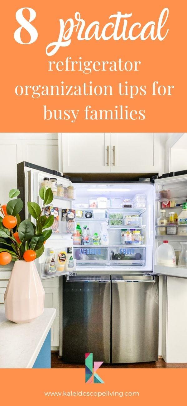 refrigerator organization tips Pinterest graphic