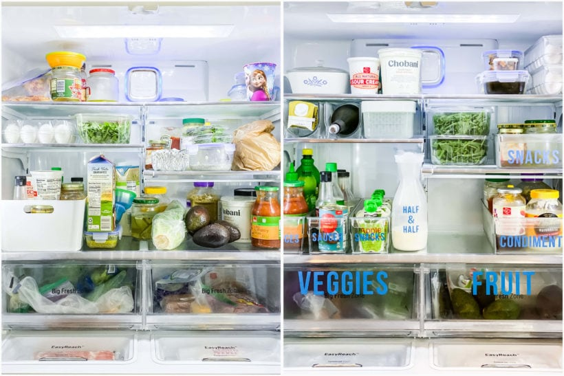 refrigerator organization before and after