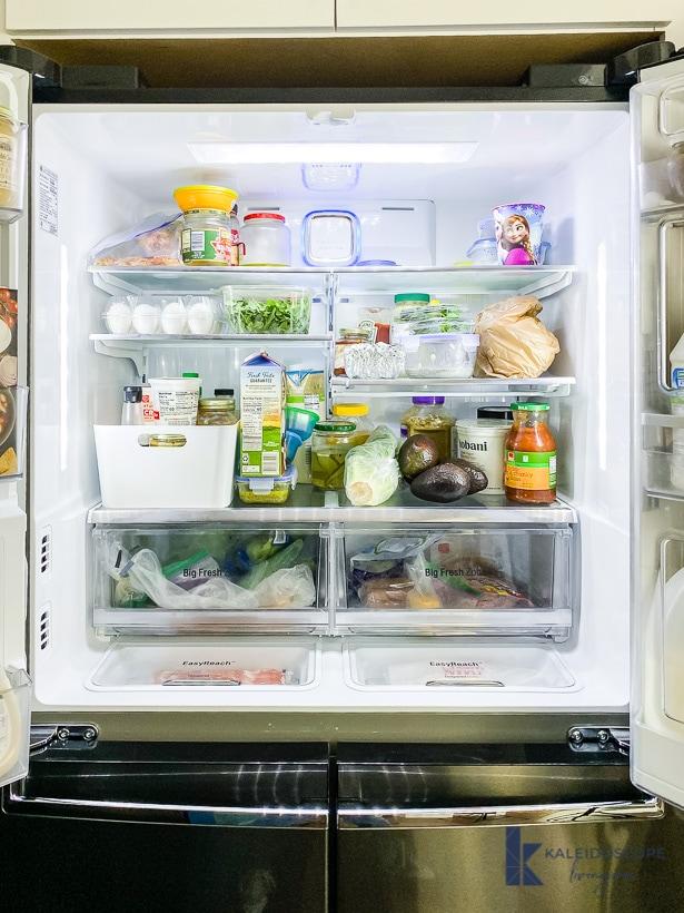 disorganized french door refrigerator