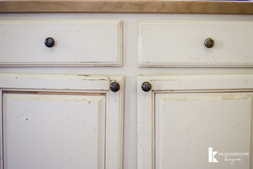 worn out painted kitchen cabinets