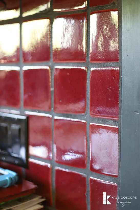 red tile backsplash
