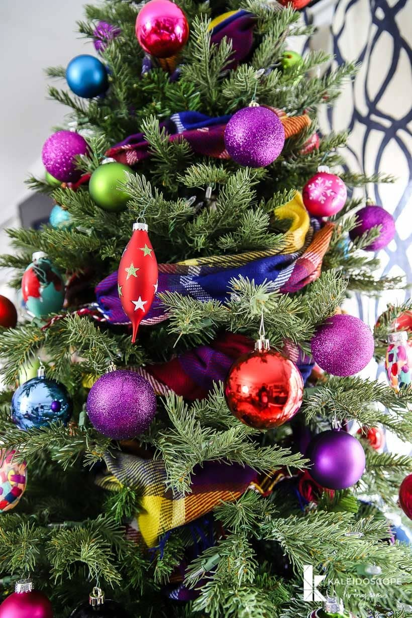 Christmas tree with colorful ornaments