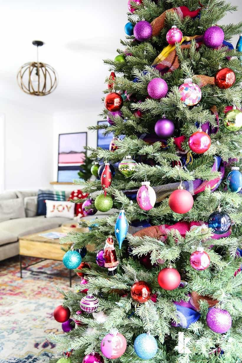 colorful Christmas tree with bright ornaments