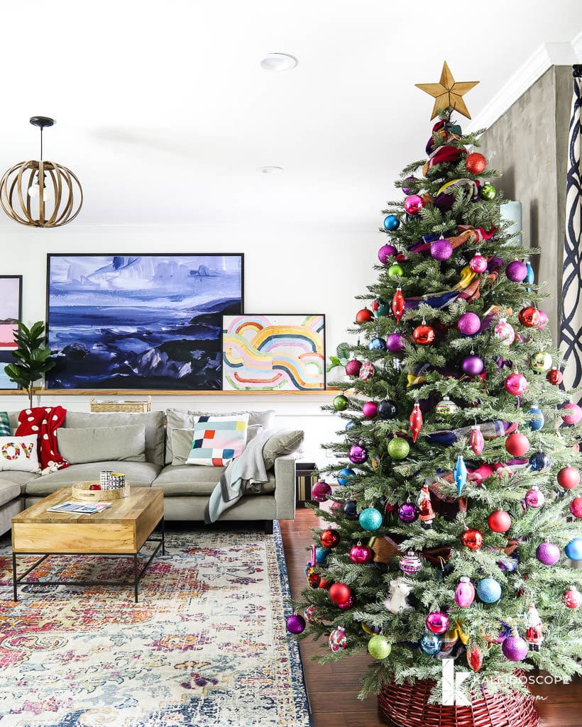 colorful Christmas tree in modern family room